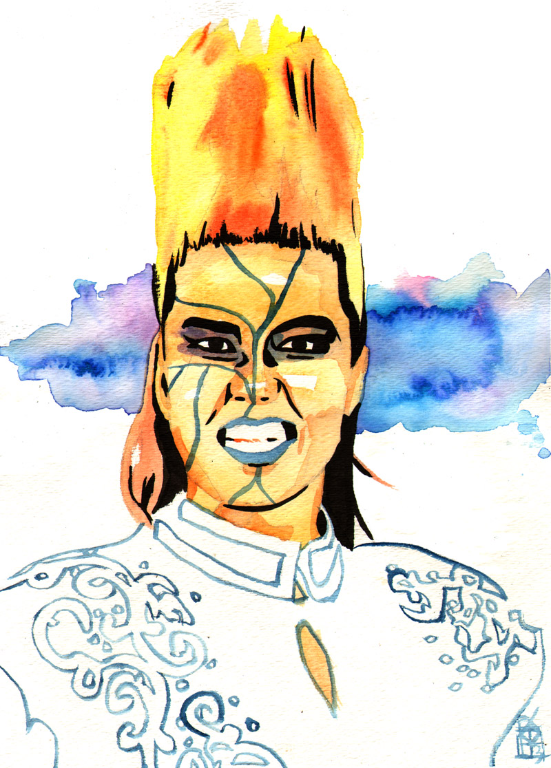 """Bull Nakano - Ink and watercolor on 9"""" x 12"""" watercolor paper"""