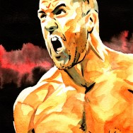 "Cesaro - Ink and watercolor on 9"" x 12"" watercolor paper"