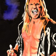 "Chris Jericho - Ink and watercolor on 9"" x 12"" watercolor paper"