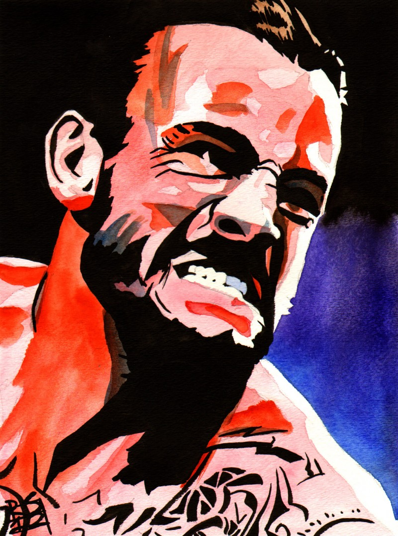 """CM Punk - Ink and watercolor on 9"""" x 12"""" watercolor paper"""