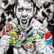 "CM Punk - Ink, acrylic and watercolor on 22"" x 30"" watercolor paper"