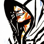 "Cody Rhodes - Ink and watercolor on 9"" x 12"" watercolor paper"