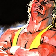 "Curt Hennig - Ink and watercolor on 9"" x 12"" watercolor paper"