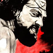 "Damien Sandow - Ink and watercolor on 9"" x 12"" watercolor paper"
