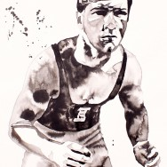 "Dan Gable - Ink and watercolor on 22"" x 30"" watercolor paper"