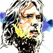 "Daniel Bryan - Ink and watercolor on 9"" x 12"" watercolor paper"