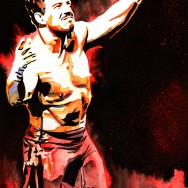 "Eddie Guerrero - Ink, spray paint and watercolor on 12"" x 18"" watercolor paper"