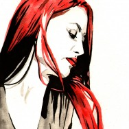 "Eva Marie - Ink and watercolor on 9"" x 12"" watercolor paper"