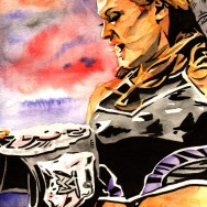 "Eve Torres - Ink and watercolor on 9"" x 12"" watercolor paper"