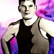 "Frank Gotch - Ink and watercolor on 9"" x 12"" watercolor paper"