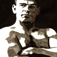 "Frank Gotch - Ink on 9"" x 12"" watercolor paper"