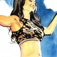 "Gail Kim - Ink and watercolor on 9"" x 12"" watercolor paper"