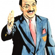 "Gene Okerlund - Ink and watercolor on 9"" x 12"" watercolor paper"
