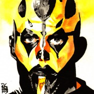 "Goldust - Ink and watercolor on 9"" x 12"" watercolor paper"