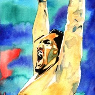 "Great Khali - Ink and watercolor on 9"" x 12"" watercolor paper"