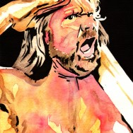 "Hackswaw Jim Duggan - Ink and watercolor on 9"" x 12"" watercolor paper"