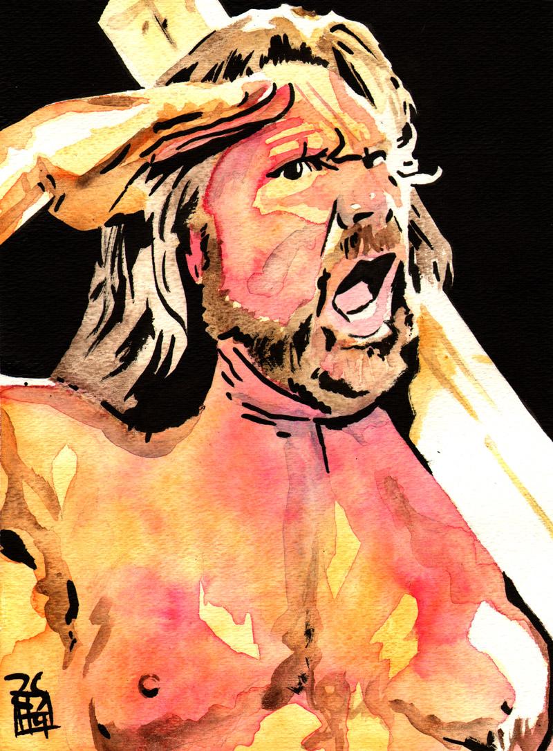 """Hackswaw Jim Duggan - Ink and watercolor on 9"""" x 12"""" watercolor paper"""