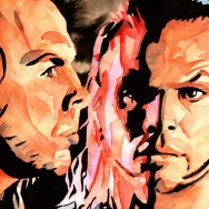 "Hardy Boyz - Ink and watercolor on 9"" x 12"" watercolor paper"