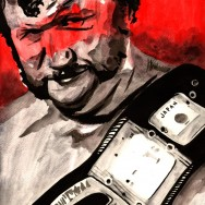 "Harley Race - Ink and watercolor on 12"" x 18"" watercolor paper"