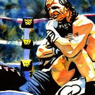 "HBK vs Bret Hart - Ink and watercolor on 9"" x 12"" watercolor paper"