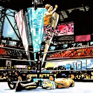 "HBK vs Jericho - Ink and watercolor on 24"" x 18"" watercolor paper"