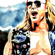 "Heath Slater - Ink and watercolor on 9"" x 12"" watercolor paper"