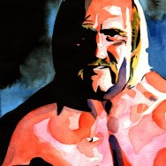 "Hulk Hogan - Ink and watercolor on 9"" x 12"" watercolor paper"
