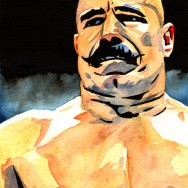 "Iron Sheik - Ink and watercolor on 9"" x 12"" watercolor paper"
