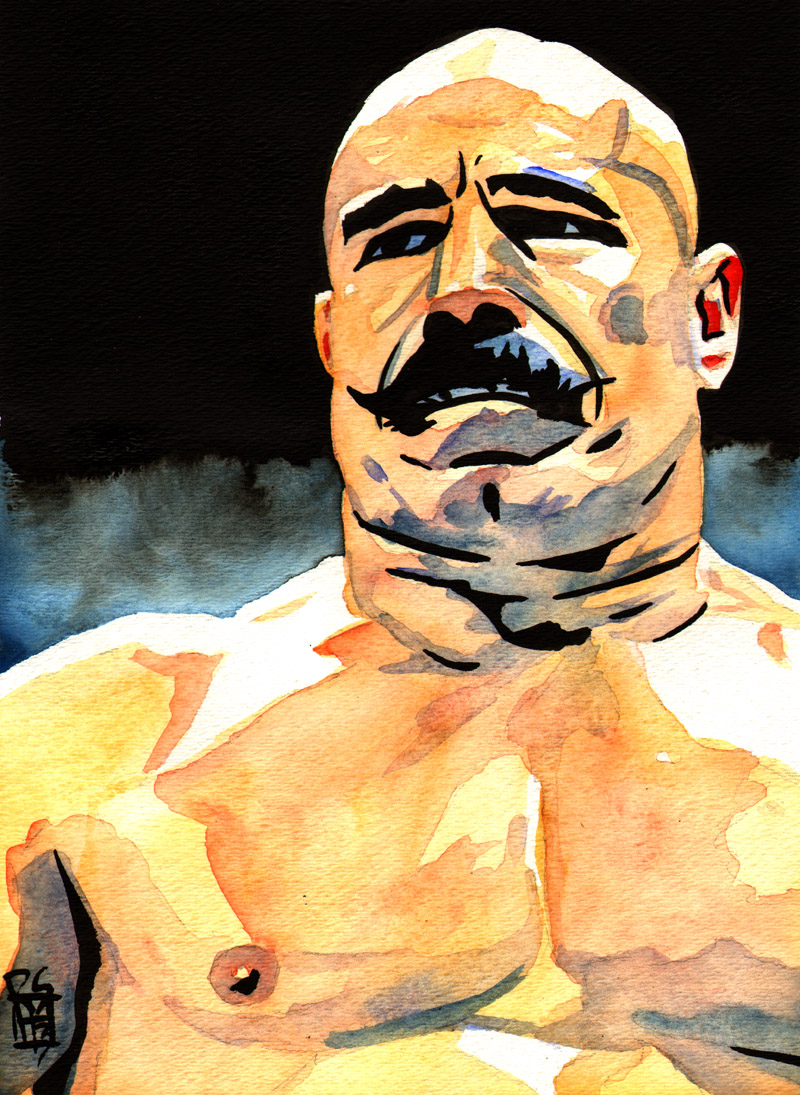 """Iron Sheik - Ink and watercolor on 9"""" x 12"""" watercolor paper"""
