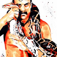 "Jake the Snake Roberts - Ink and liquid acrylic on 22"" x 30"" watercolor paper"