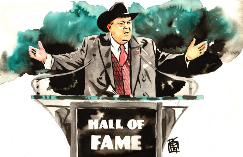 "Jim Ross - Ink and watercolor on 18"" x 12"" watercolor paper"