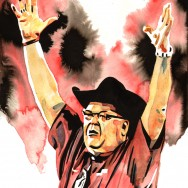 "Jim Ross - Ink and watercolor on 12"" x 18"" watercolor paper"