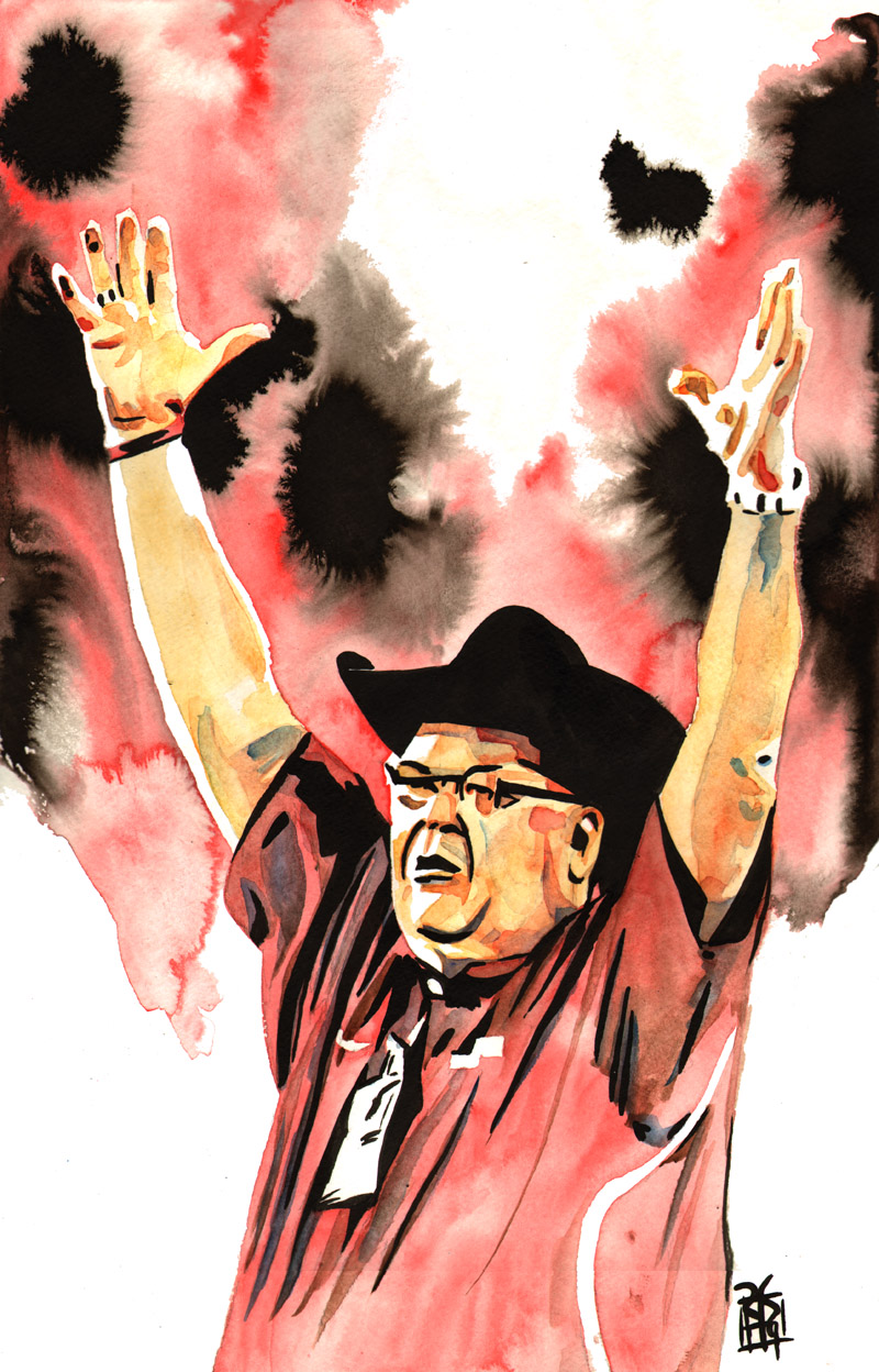 """Jim Ross - Ink and watercolor on 12"""" x 18"""" watercolor paper"""