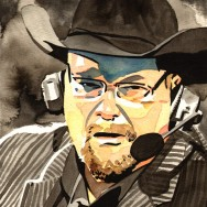 "Jim Ross - Ink and watercolor on 9"" x 12"" watercolor paper"