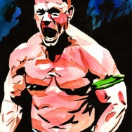 "John Cena - Ink and watercolor on 9"" x 12"" watercolor paper"