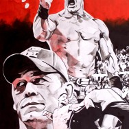 "John Cena - Ink, acrylic and watercolor on 22"" x 30"" watercolor paper"