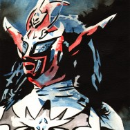 "Jushin Thunder Liger - Ink and watercolor on 9"" x 12"" watercolor paper"