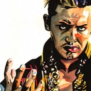 "Kazuchika Okada - Ink and watercolor on 9"" x 12"" watercolor paper"