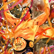 "Kenta Kobashi - Ink and watercolor on 9"" x 12"" watercolor paper"