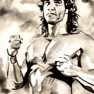 "Kerry Von Erich - Ink and watercolor on 9"" x 12"" watercolor paper"