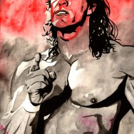 "Kerry Von Erich - Ink and watercolor on 18"" x 12"" watercolor paper"