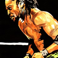 "Kofi Kingston - Ink and watercolor on 9"" x 12"" watercolor paper"