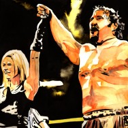 "Lana and Rusev - Ink and watercolor on 18"" x 12"" watercolor paper"