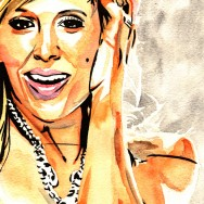"Lilian Garcia - Ink and watercolor on 9"" x 12"" watercolor paper"