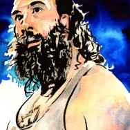 "Luke Harper - Ink and watercolor on 9"" x 12"" watercolor paper"