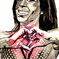 "Madison Rayne - Ink and watercolor on 9"" x 12"" watercolor paper"