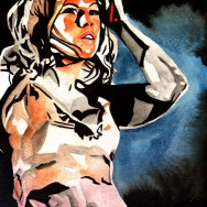 "Mickie James - Ink and watercolor on 9"" x 12"" watercolor paper"