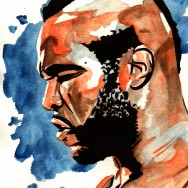 "Mr T - Ink and watercolor on 9"" x 12"" watercolor paper"