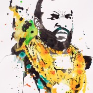 "Mr T - Ink and liquid acrylic on 22"" x 30"" watercolor paper"