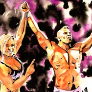"Natalya and Tyson Kidd - Ink and watercolor on 9"" x 12"" watercolor paper"